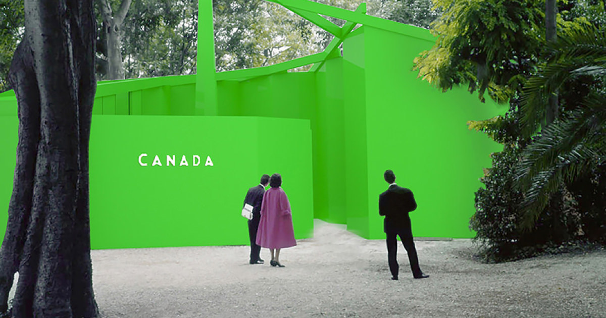 Concept image of Canada pavilion wrapped in green.
