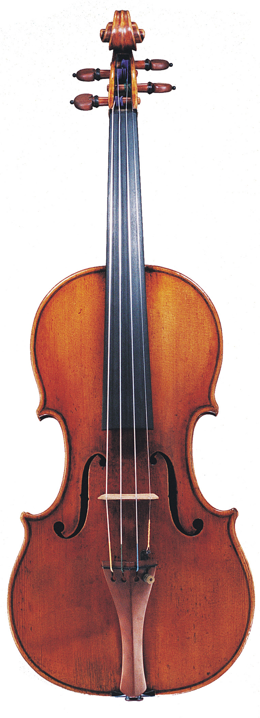 An image of a violin, the 1689 Baumgartner Stradivarius violin