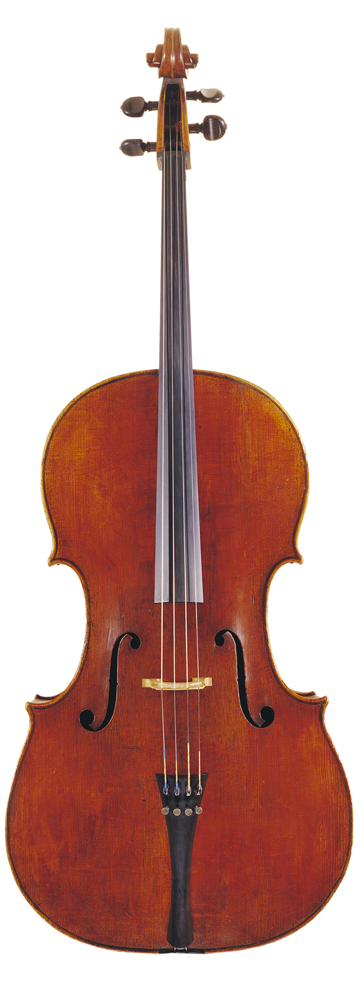 An image of a cello, the 1696 Bonjour Stradivarius cello