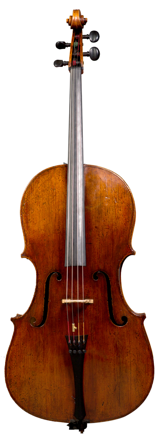 Image of a cello, a Spanish cello attributed to Joannes Guillami of Barcelona, Spain and bearing a label dated circa 1769