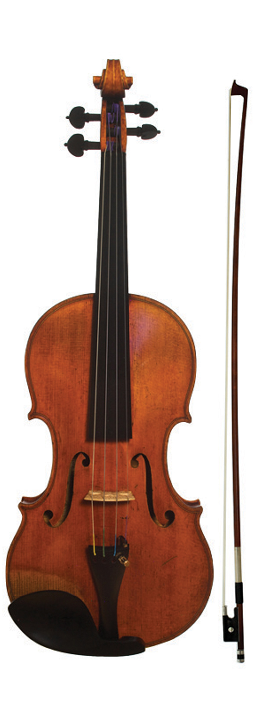 Image of a violin, the 1869 Jean Baptiste Vuillaume violin (with Vuillaume model bow)